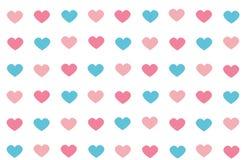 Cor azul e cor-de-rosa do teste padrão sem emenda abstrato do coração no branco Foto de Stock