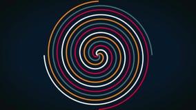 A cor circular abstrata de incandescência espiral do efeito arrasta, sumário Colorido espiral com linhas tecidas na forma de um c video estoque