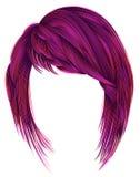 Cor cor-de-rosa brilhante dos cabelos na moda da mulher kare com os golpes médios Imagem de Stock