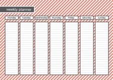 Cor cor-de-rosa vermelha da listra semanal do planejador Imagens de Stock