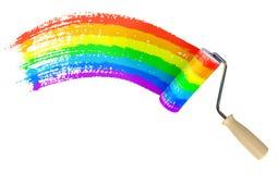 Cor da parede da pintura do rolo do arco-íris Imagens de Stock