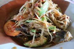 A cor da salada da papaia é favoritos picantes, asiáticos imagens de stock royalty free