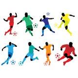 Cor da silhueta do futebol Ilustração Stock
