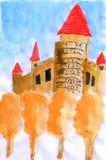 Cor de água da ilustração o castelo do outono Ilustração do Vetor