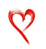 A cor de água pintou o coração vermelho no fundo branco Imagens de Stock