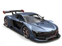 Cor de azul cinzento metálica automobilístico dos esportes super magníficos com detalhes vermelhos ilustração stock