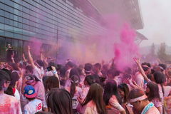 Cor de Chongqing Exhibition Center corrida em jovens Fotografia de Stock Royalty Free