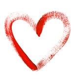 A cor de água pintou o coração vermelho no fundo branco Foto de Stock Royalty Free