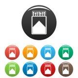 Cor de madeira do grupo dos ícones da caixa de fósforos ilustração stock