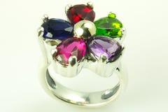 A cor de prata apedreja o anel Imagens de Stock