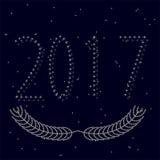 cor 2017 de prata no fundo do céu noturno com estrelas Fotografia de Stock