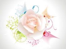 A cor-de-rosa abstrata levantou-se com floral e grunge ilustração do vetor