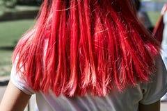 Cor cor-de-rosa brilhante dos cabelos da mulher foto de stock