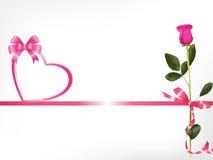 Cor-de-rosa cor-de-rosa e coração Imagens de Stock Royalty Free
