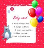 Cor-de-rosa do cartão do feliz aniversario do bebê Fotos de Stock