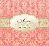 Cor-de-rosa do frame de etiqueta do vintage do convite Foto de Stock