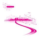 Cor-de-rosa do fundo da arquitectura da cidade, arte urbana Imagens de Stock Royalty Free
