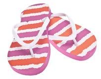 Cor-de-rosa e sandálias alaranjadas do falhanço da aleta Fotografia de Stock