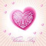 Cor-de-rosa feliz do dia de Valentim do coração floral abstrato Fotos de Stock Royalty Free