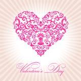 Cor-de-rosa floral abstrata do dia de Valentim do coração Imagens de Stock Royalty Free