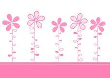 A cor-de-rosa floresce o cartão do convite Ilustração Stock
