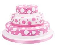 A cor-de-rosa manchou o bolo da pasta do açúcar Fotografia de Stock