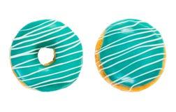 Cor de turquesa de dois anéis de espuma com listras brancas foto de stock