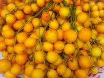 Cor do amarelo do ramiflora de Baccaurea no fundo da parede da bandeja fotografia de stock royalty free