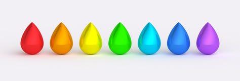 A cor do arco-íris deixa cair texturas reflexivas Imagem de Stock