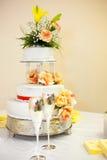 Cor do bolo de casamento e dos vidros de vinho Fotos de Stock Royalty Free