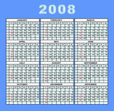 Cor do calendário 2008 ilustração do vetor