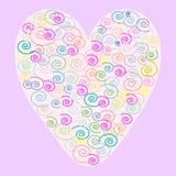 A cor do coração modela o fundo romântico das ondas Imagens de Stock Royalty Free