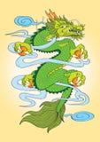 Cor do dragão do estilo japonês da tatuagem Fotos de Stock Royalty Free