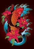 Cor do estilo japonês da tatuagem dos peixes de Koi Fotografia de Stock