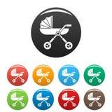 Cor do grupo dos ícones do transporte do pram do bebê ilustração do vetor