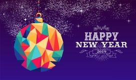 Cor 2019 do moderno do triângulo da quinquilharia do ano novo feliz ilustração do vetor