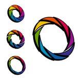 Cor do obturador, da abertura e roda do branco logotipo 3d isometric Fotografia de Stock Royalty Free