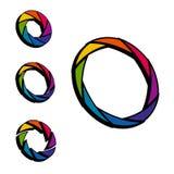 Cor do obturador, da abertura e roda do branco logotipo 3d isometric Imagem de Stock Royalty Free