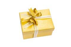 Cor do ouro da caixa de presente Imagens de Stock Royalty Free