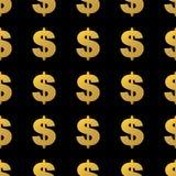 Cor do ouro do sinal de dólar Ilustração do Vetor