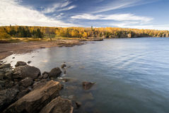 Cor do outono, costa norte, o Lago Superior, Minnesota, EUA Fotos de Stock