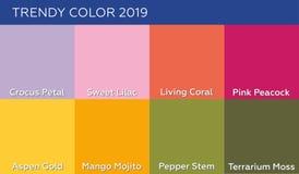 Cor do pantone coral vivo do ano 2019 e outras cores elegantes da tend?ncia e dos pontos mortos do mola-ver?o 2019 ilustração stock
