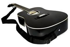 Cor do preto da guitarra acústica Imagens de Stock Royalty Free