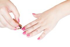 Cor do rosa da pintura do prego do tratamento de mãos Imagem de Stock