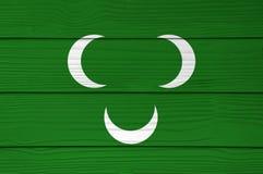Cor do século XVIII da bandeira de Tripolitania do otomano pintada no fundo da parede da folha do cimento da fibra foto de stock