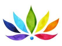 cor 7 do símbolo do sinal do chakra, flor de lótus colorida, pintura da aquarela