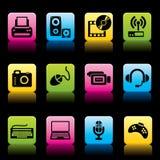 Cor dos ícones dos dispositivos Fotografia de Stock