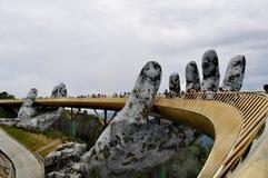 Cor dourada da paisagem da ponte do Da Nang fotos de stock