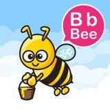Cor e alfabeto dos desenhos animados da abelha de B para crianças a aprender o vetor ilustração do vetor