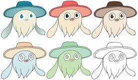 A cor grande das orelhas do monstro do chapéu do verão dos desenhos animados rabisca o grupo da tração da mão ilustração stock
